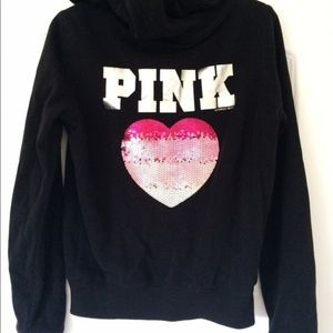 VS PINK Sequin Heart Hoodie - Black and Pink